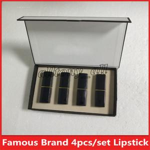 Nova Famosa Maquiagem Fosco batom 4 cores tubo Preto fosco batom 4 pçs / set Maquiagem Cosméticos Frete grátis
