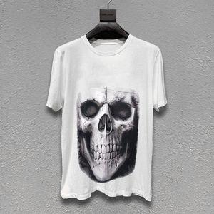 Famoso Mens t-shirt das mulheres dos homens Crânio impresso Verão T Shirt Black White Moda Streetwear manga curta M-XL
