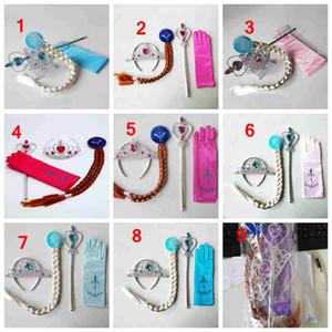 bambina di Cosplay diadema accessori per capelli set Corona + parrucca + bacchetta magica + accessori per capelli ragazze guanto 5pcs / bambini set vestire i regali