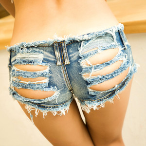 2020 Nouveau femmes Designer Denim Short taille basse sexy dos nu Trou Night Club Hot Shrts Fashion Girls Slim Skinny Jeans Taille S-XL gros