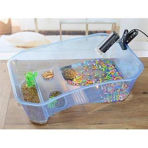 Aquarium Tortue Transparent Breeding Box Reptile Perché Maison de séchage Plate-forme pour brésilienne Tortue Réservoir d'eau