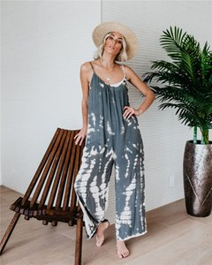 New Womens Jumpsuits Fashion Panelled Pattern Sleeveless Jumpsuits Casual Natural Color Full Length Rompers Women Designer Clothes