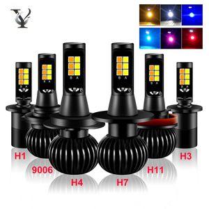 2Pcs H11 H7 LED Fog Light Headlight H4 H1 9006 H8 H9 3030 Chip White Yellow Blue 12V 6000K Fog Lamp Super Bright