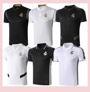2019 Real Madrid Polo Football maillot blanc 19/20 Real Madrid RISQUE Noir POLO Football POLO Uniforme