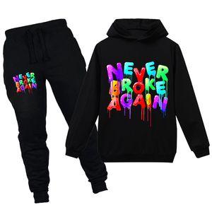 2 Stück Junge Mädchen Hoodies Set YoungBoy nie wieder pleite Modedesigner Hoodies Sweatershirts Kinderkleidung Sets Tops + Pants