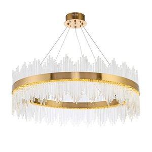 현대 럭셔리 크리스탈 라운드 LED 펜던트 램프 골드 홈 거실 샹들리에 천장 조명 새로운 PA0491