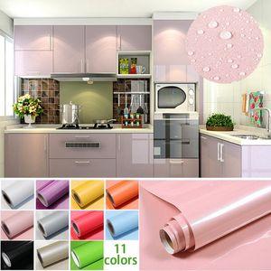 1M / Rollo Papel pintado de gabinete de PVC impermeable brillante Gabinete de papel de contacto autoadhesivo para puerta Muebles Pegatinas Baño Cocina