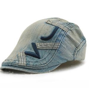2019 neue frauen Cowboy Hats Breathable Bone Brim Hats Denim Herren Denim Flache Kappe Herringbone Visiere