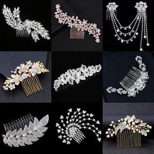 Hoja de oro rosa de cristal de bodas de plata del peine del pelo del clip de la joyería del Rhinestone nupcial de la flor del tocado para las mujeres del pavo real del casco de Prom
