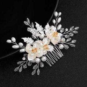 Clips FORSEVEN Alloy Leafs Flor Comb cabelo artesanal cabelo Mulheres mantilha jóias acessórios de casamento