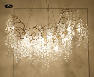 L'illuminazione di grandi rami di rame artistico Lampade a sospensione Lampadari di vetro chiara Albero Foglie Chandelier Luster Villa Lampadari Illuminazione LLFA