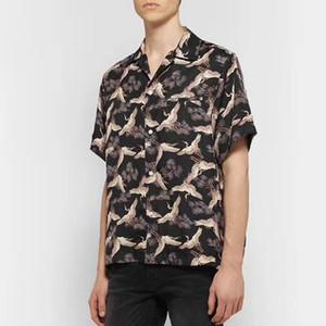19SS AM1R1 Silk Blend Manteau de grue T-shirt Tops Printemps Automne Hommes Femmes T-shirt décontracté vêtements de la rue de protection solaire Tee HFYMTX559