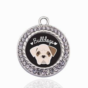BULLDOG LOVER CIRCLE CHARM Charms colgante para DIY collar pulsera fabricación de joyas accesorios hechos a mano