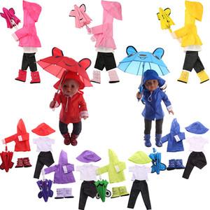 traje impermeable 6 PC / sistema = chaqueta + sombrero + pantalones + camisa Fit 18 pulgadas estadounidense Doll43 CM bebé ropa de la muñeca, Y200111 Generación Paraguas + botas + Nuestro