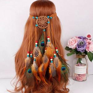 Sıcak Yeni Bohemian Hippi Kafa Dream Catcher Tüy Headdress Moda Uzun Püskül Peacock Feather Bantlar Saç Aksesuarları