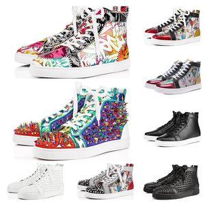 Christain Louboutin Nova Alta Qualidade 2019 Designer Bottoms vermelhas sapatos para homens e mulheres negro multicolor flash de fundo do vintage Casual Plano picos rebite Sneaker