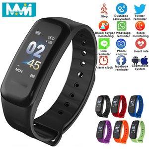 MMN C1S Smart-Armband Herzfrequenzmesser IP68 wasserdicht Farben-Schirm-Fitness Tracker Band Bluetooth 4.0 Sport Smart-Band