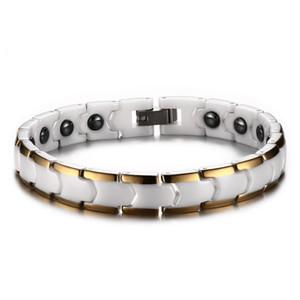 Braccialetto di ceramica del braccialetto dell'acciaio inossidabile del braccialetto dell'ematite della signora semplice retro 9MM bianco semplice per le ragazze J001 delle donne
