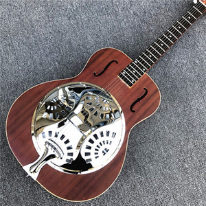 Custom Grand Brown Hollow body Electric Guitar Facotry Custom Metal top Mini Humbucker Resonator Steel guitar Free shipping