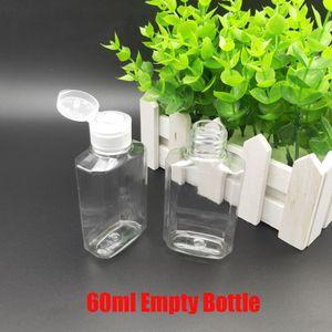60ml Mano vuota Gel Igienizzante mano una bottiglia in PET Copertina di vibrazione sapone liquido bottiglia trasparente Spremuto Pet Sub bottiglia di corsa Disponibile
