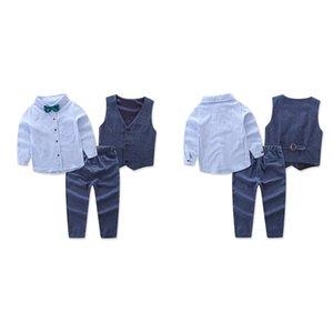 3 Teile / satz Anzug Outfits Sets Kleidung Kinder Jungen Weste Kleidung Set Weste + Hemd + Hose Kinder Gentleman Anzug Hochzeit Prom Anzüge