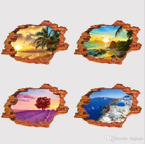Wallpaper 3D landscape stereo wall stickers personality creative wall stickers PVC fake window landscape wall stickers