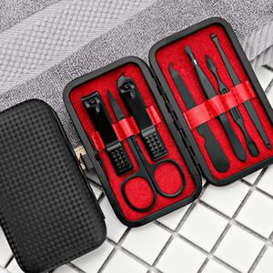 7pcs / set New manucure en acier inoxydable noir Coupe-ongles pédicure Hygiène Voyage Portable Kit Nail Trimmer Cutter Tool Set