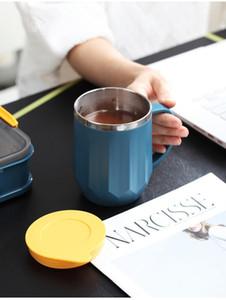INS Coffe Tazze doppio dell'acciaio inossidabile Coppe strato di latte di campeggio portatile di Coppa con coperchio per la casa gli amanti del caffè tazze 400ml CCA12165 48pcsN