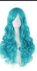 WIG free shipping Fashion Women's Blue Long Curly Wave Anime Cosplay Party Wig heat resistant Wigs
