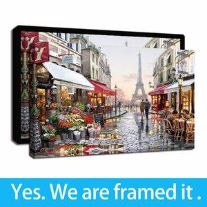 Paris Eiffelturm Romantik und Leisurely Nachmittag Zeit gerahmte Gemälde Leinwand-Wand-Kunstdruck auf Leinwand für Heim und Büro-Dekor