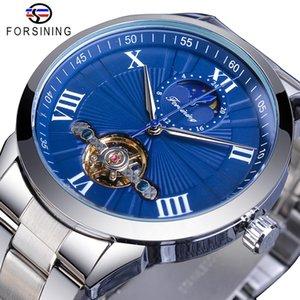 Forsining Mavi Moda Mekanik İzle Erkek Tourbillon Otomatik Moonphase Paslanmaz Çelik Analog Saatler Reloj hombre Dropship
