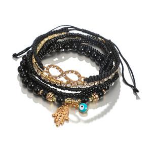 6 Pcs / Set Boho Perlé Bracelet Set Palm Yeux Octagonal Diamant Élastique Corde Bracelets Bijoux De Mode pour Femmes Filles Cadeau D'anniversaire