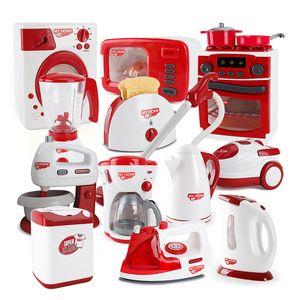 Çocuk Mutfak Oyuncaklar Oyna Pretend Kırmızı Simülasyon Ev Aletleri Tost Süpürge Ocak Blender Oyuncak Çocuklar Için