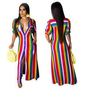 Verão Mulheres Camisa Longa Vestidos Stripe Rainbow Imprimir 1/2 Manga Lapela Pescoço Bolso Tornozelo Comprimento Maxi Vestidos Rosa Roxo Amarelo S-3XL