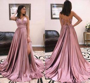 2019 bretelles spaghetti A-ligne de bal robes Sexy Side fente dos nu robes de soirée formelles avec balayage train robes de soirée