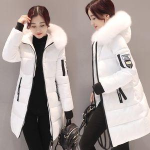 Parkas las mujeres de las señoras casual de invierno capas largas de la mujer chaquetas de invierno de las mujeres de algodón con capucha Parkas caliente de la capa Outwear 2018 más el tamaño V191025
