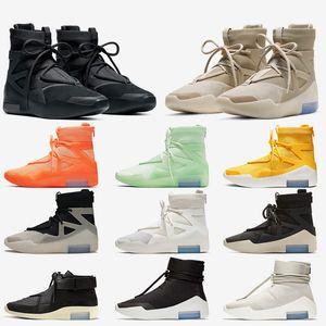 2020 Nike Air Fear of God 1 Herren Basketballschuhe Triple Black Oatmeal String Die Frage Lager x Amarillo Orange Outdoor Damen Designer-Turnschuhe