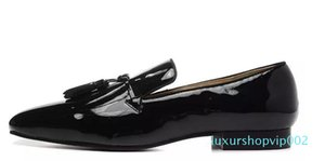 Hot Sale-Black Patent Leather Men Casual Loafers Shoes Red Bottoms Square toe Tassel Flats Cow Formal Wedding Party Shoes Big Size 38-46