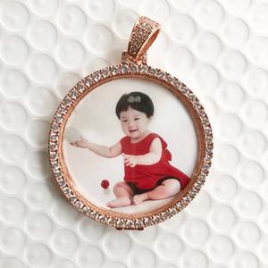 Por encargo Foto medallones colgante con cadena de la cuerda de oro rosa de color joyería cúbica del hip-hop de los hombres de circón