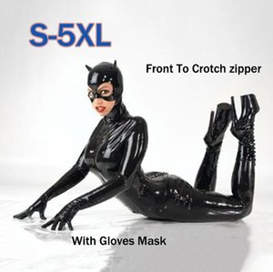Sexy Hot Female Faux Leather Latex Bodysuit Catwoman Costume Mask Gloves Wetlook Bondage Catsuit Flexible Jumpsuit Clubwear LY191222