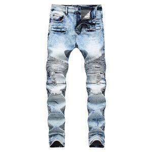 """A neve dos homens lavou calças de brim azuis do motociclista para calças plissadas """"sexy"""" do sarja de Nimes do estiramento da motocicleta plissada"""