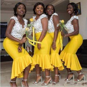 2020 Generoso Blanco Amarillo africanos vestidos de boda de los huéspedes de encaje para las damas de honor de encaje apliques Alto Bajo la sirena más el tamaño de vestidos de noche de baile