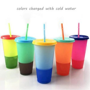 24oz Color Changing Cup Magic Plastic Drinking Tumblers with Lid and Straw Reusable Candy Color Cold Cup Baby Feeding Cup CCA12201 25pcs