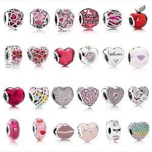 Corazón perlas de joyería de plata rosa circón de Navidad granos de la manera 925 de plata esterlina Fit original pulsera Pandora collar a12830 # 925