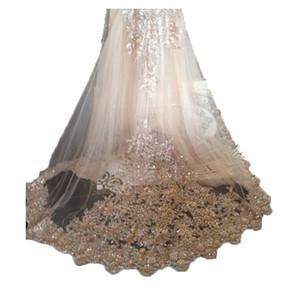 Kızlar Katedrali Lüks Uzun Şapel Uzunluğu boncuklu için Tarak Gelin ile Bling Champagne Gelin Duvağı AYDINLATMA Lace Bling