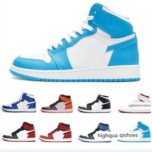 1S Chicago red with Box white top Quality New 1 Chicago red Men Basketball Shoes Powder Blue UNC Athletic Sport Sneakers