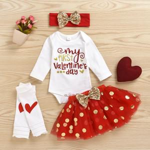 Mode Saint-Valentin enfant en bas âge Bébés filles à manches longues + Body Jupe en dentelle + Bandeau + pied Cover Vêtements 4PCS Tenues Set