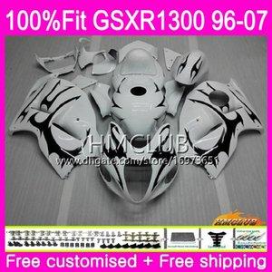 Inyección para SUZUKI Hayabusa GSXR1300 GSXR 1300 96 02 03 04 05 06 07 22HM.33 GSX R1300 2002 2003 2004 2005 2006 2007 Carenado Blanco Negro