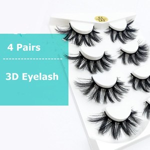 New 4 Pairs Natural False Eyelashes Fake 3d Mink Eyelashes Makeup Eyelash Extension Silk Protein Eye Lashes