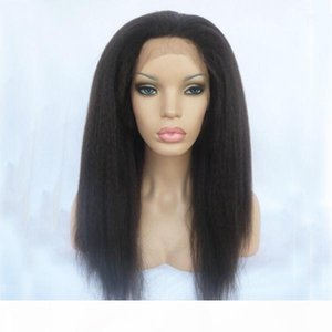 Long Kinky Straight Synthetic Lace Front Wigs Light Italian Yaki Synthetic Full Lace Wig Heat Resistant Fiber Glueless Swiss Lace Wigs
